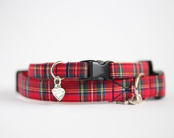 Small Dog or Puppy Collar, Red Tartan, Made To Measure