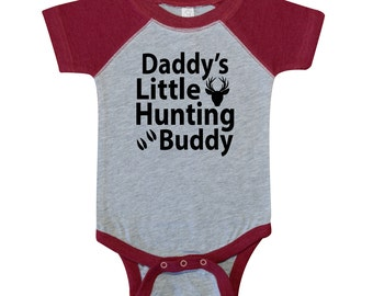 Daddy's Little Hunting Buddy - Country Deer Buck Baby One Piece Bodysuit or Children's T-shirt - Sleeve Color Options Available!