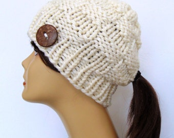 Chunky Knit Ivory Cream Ponytail Hat Beanie Pony Tail Hole Women's Teens Hat Soft Wool Blend Alaskan Made