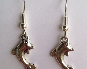 Dolphin dangles, silver plated fish hooks beads