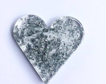 Eco resin love heart pendant with silver flakes on a long dainty silver plated chain, necklace