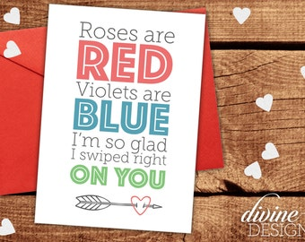 Tinder Card - Funny Valentines Day Card - Funny Love Card - I Love You Card - Valentine Card - Anniversary Card