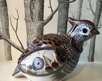 Large Vintage Hand Painted Mexican Bird Quail Pottery Tonala Style Folk Art