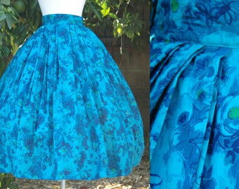Blue, Teal Floral Print 1950s Full Skirt with Deep Pleats at Waist