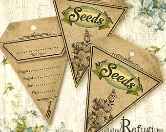 Seed Packets triangle / Digital Collage Sheet / Instant Download/flowers/ printables