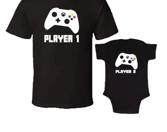 Player 1 and Player2 T-Shirt & Onesie Combo For The Perfect Christmas Gift - Black T-Shirt With black Onesie
