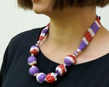 Candy Cane one-of-a-kind statement necklace, hand made with hand painted silk and wooden and silver-plated beads