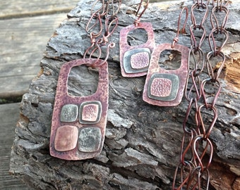 Silver and copper mixed metal jewelry set, hammered necklace and earrings