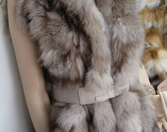 NEW! Natural,Real Fox Fur hooded Vest with Leather!!! Новая жилетка из лиси!