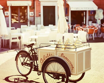 Bicycle photography, vintage bicycle photography, ice cream, vintage home decor, Italian village. Home decor, wall art. Fine Art.