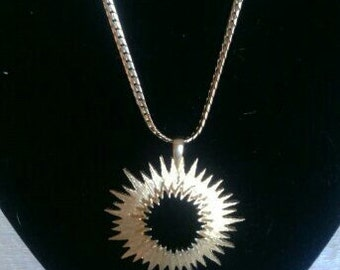 Vintage Sunburst Goldtone Necklace
