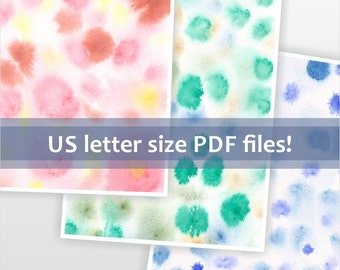 Instant download for digital scrapbook paper. Printable watercolor background. Colorful spots pattern. Letter size abstract art.