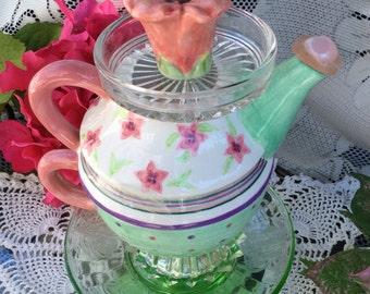 Garden totem, teapot bird feeder, bird bath stand, Mother's Day,  glass yard art, totem bird bath, teapot glass art, garden sculpture,