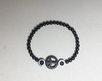 Peace bracelet,gemstone,minimalist,hand made,mans,womans bracelet