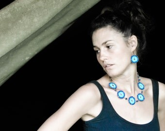 Blues, silver and gun-metal Maasai bead-work necklace