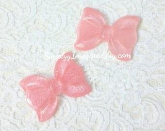 Large Pink Bow Ribbon Glitter Sparkly Cabochon Resin Flatback - 2 PCS - 56mm