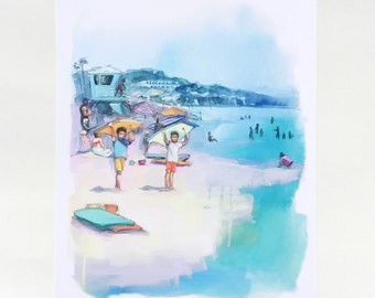Boogie board brothers. Beach scene painting, watercolor, beach house art, california, beach watercolor palm trees southern california