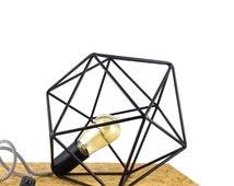 Polyhedron Geometric Table Lamp Industrial Cage Lamp Vintage Lighting Icosahedron Diamond Lamp