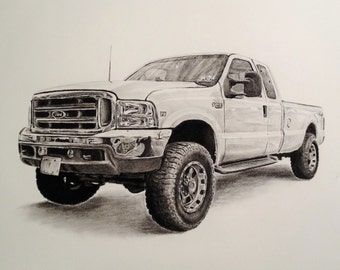 Custom charcoal 11 x 14 inch drawing of truck/car from photo, auto art, handmade original illustration, charcoal pencil drawing, vehicle