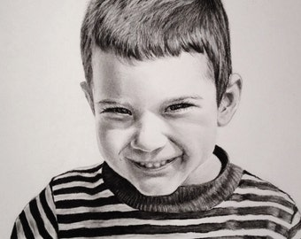 Charcoal portrait drawing from your photo, 8 x 10 inches, commissioned, custom, handmade original, charcoal pencil drawing, child portrait