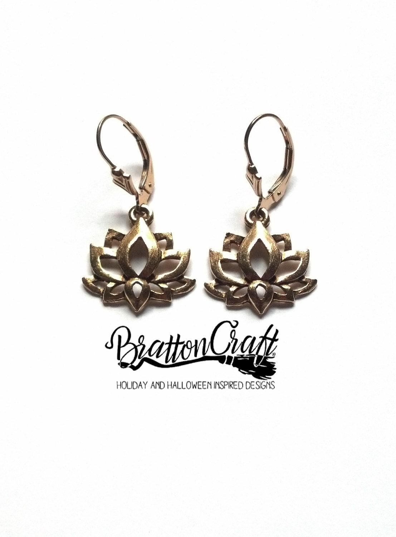 gold lotus flower earrings lotus flower earrings spiritual