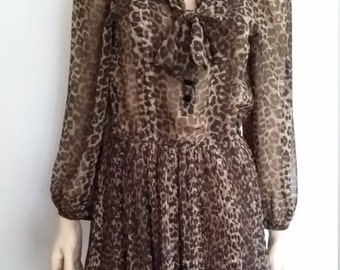 Cheetah print dress, S, bow front dress, tie neck dress, organ pleated dress, sheer dress, animal print dress, leopard print dress