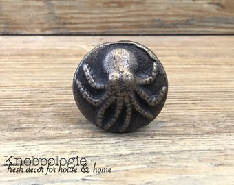 Antique Bronze Cast Iron Octopus Knob - Bronze Squid Nautical Nautilus Beach Themed Drawer Pull - Ocean Animal Nautical Nursery