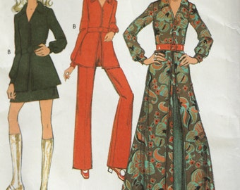 Vintage 1970s Womens sewing pattern,  womens coat-dress, tunic, trousers, pant suit, mini skirt UNCUT STYLE pattern 2823, size 10, bust 32.5