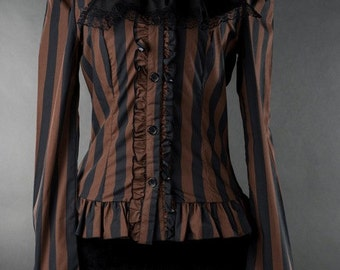 Womens Gothic Striped Victorian Steampunk Cravat Blouse Costume Piece - Made to order -
