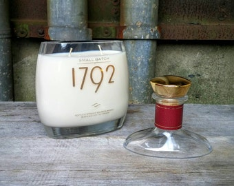 1792 Bourbon Whiskey Scented Soy Candle, Recycled Glass Liquor Bottle