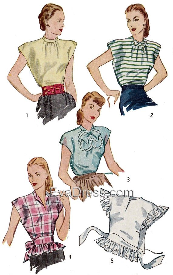 1940s Sewing Patterns – Dresses, Overalls, Lingerie etc 1946 Poncho (Wrap) Blouses EvaDress Pattern $12.00 AT vintagedancer.com