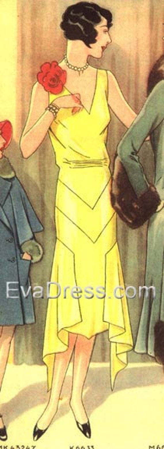 1920s Patterns – Vintage, Reproduction Sewing Patterns 1929 Evening Frock with Handkerchief Hem Size 32 to 40 bust $18.00 AT vintagedancer.com