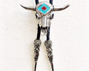Genuine Turquoise BOLO TIE with Cow Skull Coral - The 'Sacred Bull' Bolo Tie Necklace