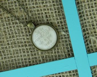 Colossians 3:15 circle glass pendant antique bronze necklace