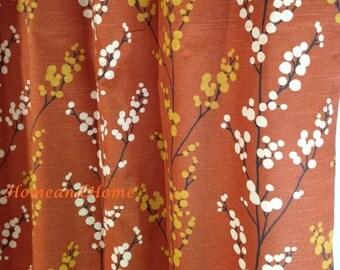 Fabric Shower curtain Evelynne Slub Henna golden yellow brown  ivory rust  Extra longRust 96   Etsy. Extra Brown And Red Shower Curtain. Home Design Ideas