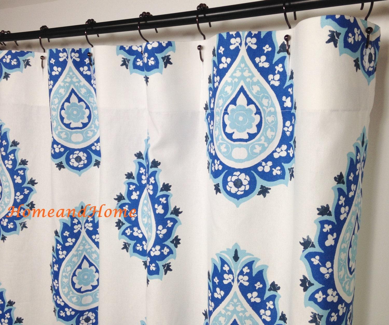 Blue Fabric Shower Curtain