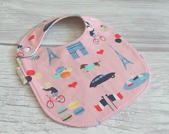 Parisian Baby Bib / Side Snap Baby Bib / Drool Bib / Organic Cotton Fleece / Baby Girl / Paris