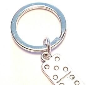 Domino Keychain, Custom Keychain, Custom Key Ring, Domino Charm, Domino Pendant, Domino Jewelry, Domino Tile, Statement Keychain, Gambling