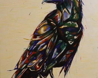 Crow Art. Ink Painting. Original Acrylic Painting. Bird Art. Bird Painting. Crow Painting. Raven Art. Ink Art. Ink Sketch. Paint Sketch.