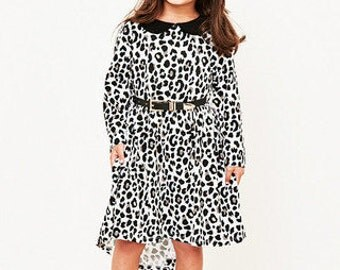 Bamboo Monochrome Leopard Print Swing Dress