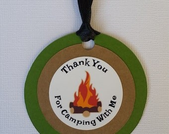 Set of 12 Camping Themed Thank You Favor Tags