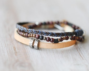 Men's Leather Friendship Blue and Brown Bracelet, Leather braided bracelet, Braided bracelet, Woven men bracelet, Leather bracelet