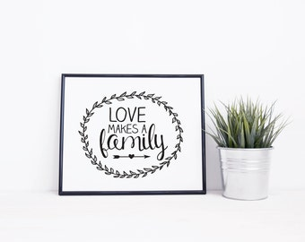 Typographic Wall Art | Love Makes A Family | Positive Quotes | Download and Print | Inspiring Digital Print