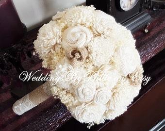 Champagne Ivory Sola Bouquet, Sola Flowers, Burlap Lace, Rustic Wedding, Alternative Bouquet, Bridal Accessories, Keepsake Bouquet, Sola