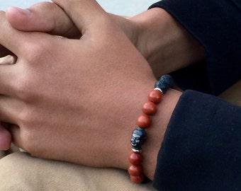 Buddha bracelet  Red jasper bracelet Lava bracelet Meditation bracelet Men' s bracelet beaded bracelet  (#23)