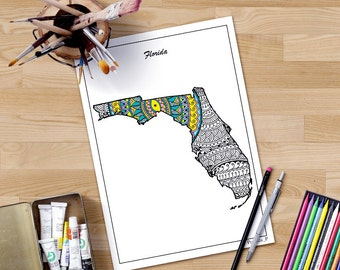 USA map printable adult coloring page inspired by Zentangle