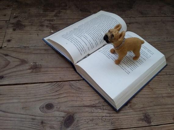 Custom Boston Terrier sculpture Needle felt Dog Pet portrait Felted Animal Figure Collectible Pet doll