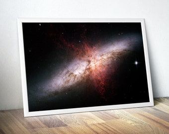Outer Space Astronomy Art Print, Starburst Galaxy Print, Hubble Telescope Photograph, Inspirational Poster, Gift Idea, FREE SHIPPING