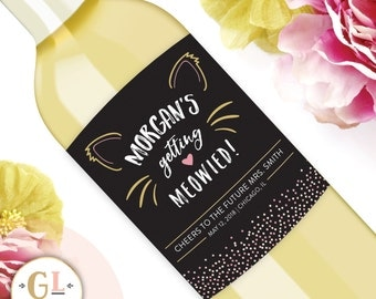 Getting Meowied Wine Label, Cat Lady Champagne Label, Cat Bachelorette, Cat Themed Party, Engagement Gift, Unique Gift for the Cat Lover