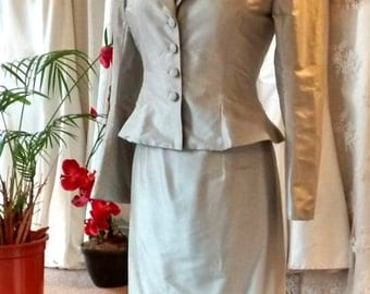 Pale blue silk shift dress and jacket with button detail, size 10